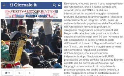 Azerbaijani refugees and IDPs in spotlight of Italian newspaper