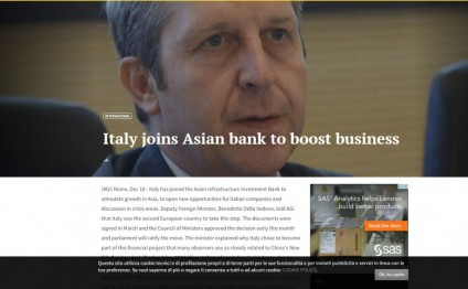 Italy joins Asian Infrastructure Investment Bank