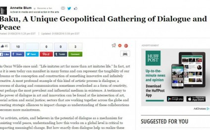 The Huffington Post: Baku, a unique geopolitical gathering of dialogue and peace