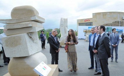 Vice President of Heydar Aliyev Foundation Leyla Aliyeva views works created by participants of 1st International Sculpture Symposium
