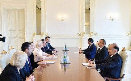 President Ilham Aliyev received delegation led by Speaker of Latvian Saeima