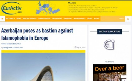EurActiv: Azerbaijan poses as bastion against Islamophobia in Europe
