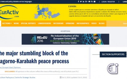 EurActiv news portal publishes article on Armenia-Azerbaijan Nagorno-Karabakh conflict