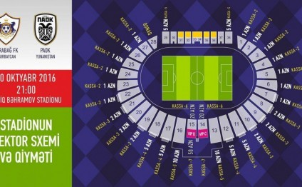 Tickets for Qarabag vs PAOK match to go on sale on October 17