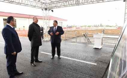 President Ilham Aliyev laid foundation of granary of Aghstafa grain processing and flour products plant