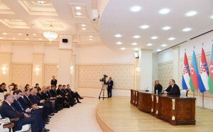 Presidents of Azerbaijan and Croatia made press statements
