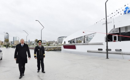 President Ilham Aliyev attended ceremony to launch new ships
