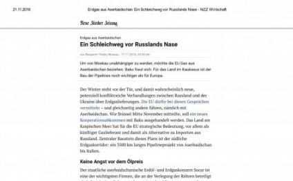 Swiss newspaper hails Azerbaijan's contribution to European energy security