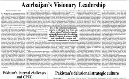 Lead Pakistan newspaper publishes article about Azerbaijan`s economic achievements