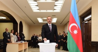 President Ilham Aliyev voted at polling station No.6