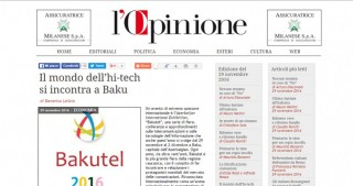 Italian newspaper highlights Bakutel 2016 exhibition