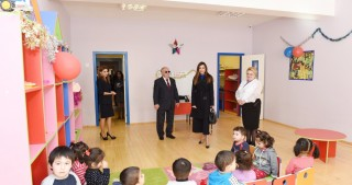 President of Heydar Aliyev Foundation Mehriban Aliyeva views newly built orphanage-kindergarten in Bina