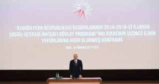 President Ilham Aliyev attended conference dedicated to results of third year implementation of the State Program on socio-economic development in 2014-2018