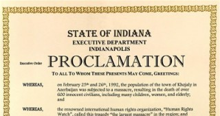Governor of U.S. State of Indiana issues a proclamation on Khojaly Massacre