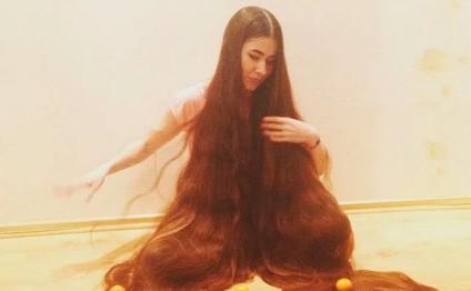 Bu qızın saçları 2 metrdən uzundur - FOTOLAR