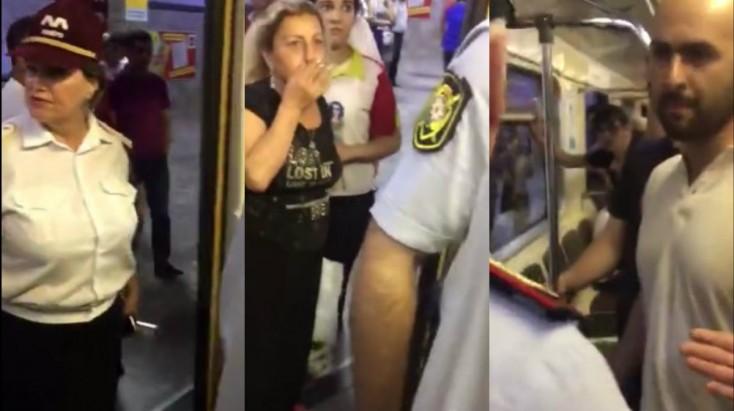 VİDEO: Bakıda gənclər metronu bir-birinə qatdı - Polis gəldi və...